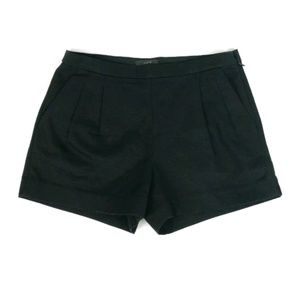 J Crew black pleated shorts in cotton pique